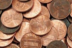 Macro super das moedas de um centavo americanas Imagens de Stock Royalty Free