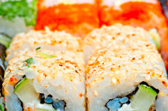 Macro sushi with different fillings Stock Photo