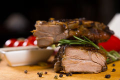 Macro Tasty Flavored Meat on Wooden Board Royalty Free Stock Photo