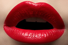 Macro tasty sexy lips and fashion lipstick make-up Stock Image
