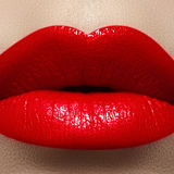 Macro tasty lips and fashion lipstick make-up. Cosmetics. Macro of fashion bright red lipstick make-up. Tasty full lips royalty free stock photo
