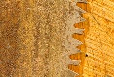 Macro of teeth of rusty large circular saw blade Stock Photography