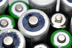Macro texture background different types of old used batteries r. Eady for recycling Royalty Free Stock Photography