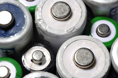 Macro texture background different types of old used batteries r. Eady for recycling Stock Photos