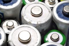 Macro texture background different types of old used batteries r. Eady for recycling Stock Images