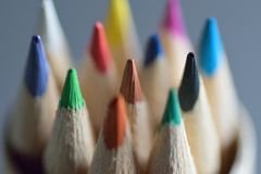 Macro texture of colorful wooden pencils Stock Photography