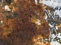 Macro texture - metal - rusty peeling paint Royalty Free Stock Photo