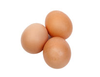 Macro of three brown eggs Royalty Free Stock Images