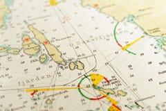 Macro tir d'un vieux diagramme marin, archipel détaillant de Stockholm Image libre de droits