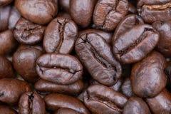 Macro tir de café foncé moyen lisse organique de rôti de haricot entier de Sumatra sur la toile de jute photo stock
