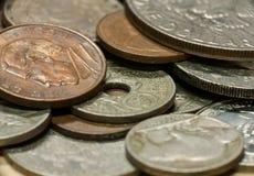 Macro tir de vieilles pièces de monnaie Photographie stock libre de droits