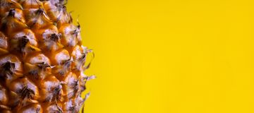 Macro tir Plan rapproché du bord d'un ananas mûr Longue bannière jaune Copiez l'espace Calibre pour la conception des jus de photos libres de droits