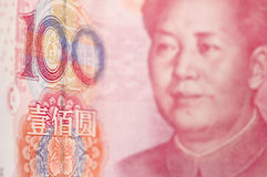 Macro-tiro para Renminbi (RMB), 100 cientos dólares. Fotos de archivo libres de regalías