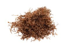Macro of tobacco. Isolated on a white background Royalty Free Stock Photos