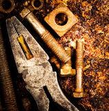 Macro of tools on a rusty background Stock Photo