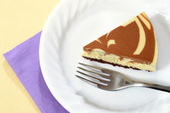 Macro top view chocolate cheesecake Royalty Free Stock Images