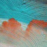 Macro of turquoise and orange painting Royalty Free Stock Photos