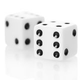 Macro two dice game isolated on white background Royalty Free Stock Photography