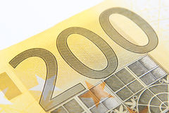 Macro two hundred euro. Close-up of 200 euro banknote Royalty Free Stock Photography