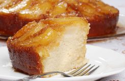 Macro upside down pear cake Stock Images