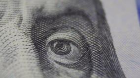 Macro of US one hundreed dollar bill stock video