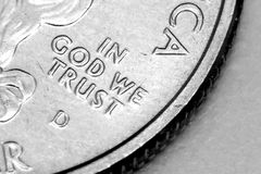Macro of US Quarter. Macro focused in on In God We Trust Royalty Free Stock Photography