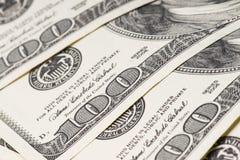 Macro van 100 Amerikaanse dollars wordt geschoten die Stock Afbeelding