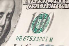 Macro van 100 Amerikaanse dollars wordt geschoten die Ondiepe DOF Stock Fotografie