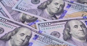 Macro van dollarbankbiljetten dat wordt geschoten stock footage