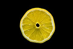 Macro van een citroenplak die wordt geschoten Stock Foto