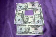 Macro van een dollar die 50 wordt geschoten Stock Foto