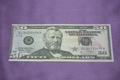 Macro van een dollar die 50 wordt geschoten Stock Afbeelding