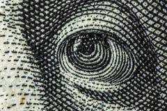 Macro van een dollar die 100 wordt geschoten Stock Afbeeldingen