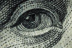 Macro van een dollar die 100 wordt geschoten Stock Foto