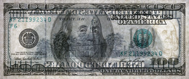 Macro van een dollar die 100 wordt geschoten Transparante rekening Stock Foto