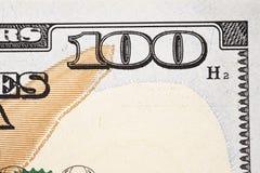 Macro van een nieuwe 100 dollarrekening die wordt geschoten Royalty-vrije Stock Foto's