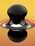 Macro van Ferrofluid-structuur door een neodymiummagneet die wordt veroorzaakt Stock Foto