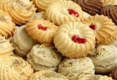 Macro van geassorteerde Koekjes en koekjes Royalty-vrije Stock Afbeelding