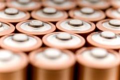 Macro van gebruikte batterijen royalty-vrije stock foto