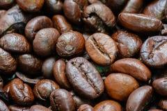 Macro van Geroosterde Koffiebonen Stock Foto