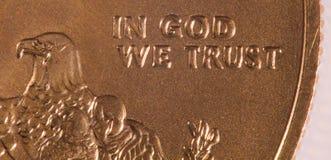 Macro van in God die wij hebben vertrouwd op Royalty-vrije Stock Foto