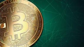 Macro van gouden Bitcoin BTC en exemplaarruimte die wordt geschoten Royalty-vrije Stock Afbeelding