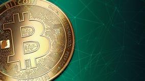 Macro van gouden Bitcoin BTC en exemplaarruimte die wordt geschoten Royalty-vrije Stock Fotografie