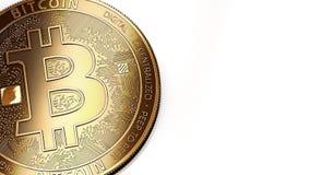 Macro van gouden Bitcoin BTC en exemplaarruimte die wordt geschoten Stock Fotografie