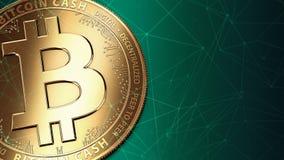 Macro van gouden Bitcoin-Contant geld BCH/BCC en exemplaarruimte die wordt geschoten Stock Afbeeldingen