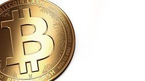 Macro van gouden Bitcoin-Contant geld BCH/BCC en exemplaarruimte die wordt geschoten Stock Afbeelding