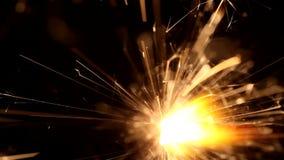Macro van het branden van sterretje stock footage