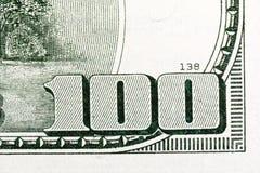 Macro van het geld dat van de 100 V.S. van de dollarrekening wordt geschoten royalty-vrije stock foto's