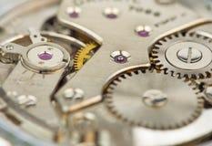 Macro van het klokmechanisme dat wordt geschoten Royalty-vrije Stock Afbeeldingen