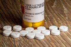 Macro van hydrocodoneopioid tabletten Stock Afbeeldingen